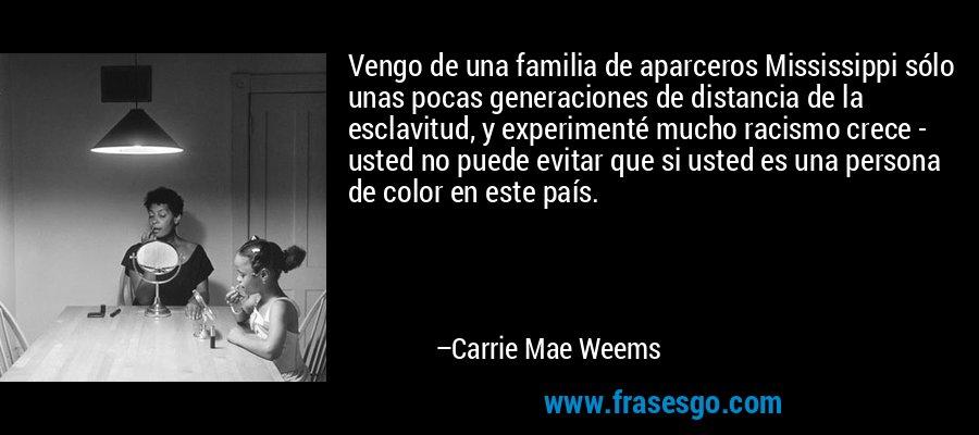 Vengo de una familia de aparceros Mississippi sólo unas pocas generaciones de distancia de la esclavitud, y experimenté mucho racismo crece - usted no puede evitar que si usted es una persona de color en este país. – Carrie Mae Weems