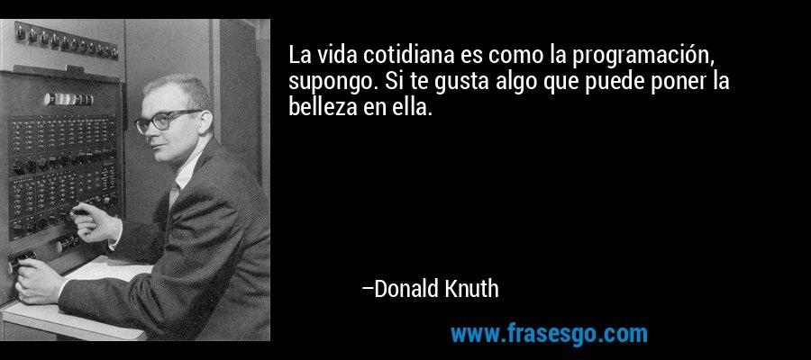 La vida cotidiana es como la programación, supongo. Si te gusta algo que puede poner la belleza en ella. – Donald Knuth
