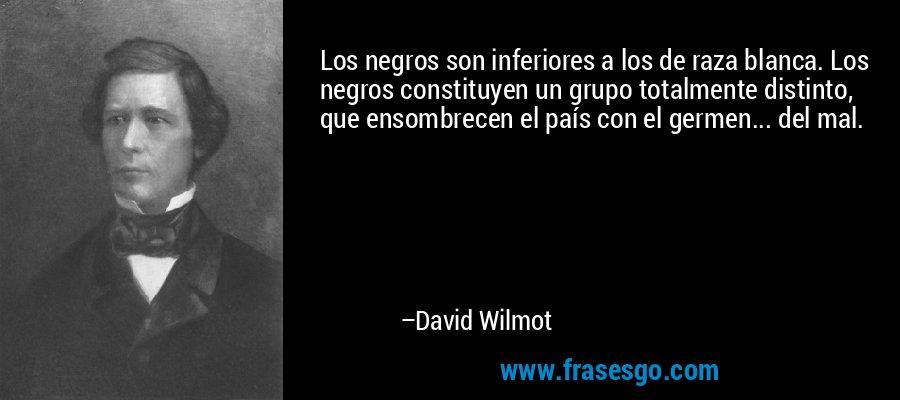 Los negros son inferiores a los de raza blanca. Los negros constituyen un grupo totalmente distinto, que ensombrecen el país con el germen... del mal. – David Wilmot