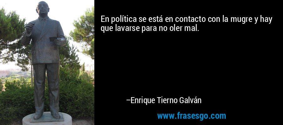En política se está en contacto con la mugre y hay que lavarse para no oler mal. – Enrique Tierno Galván
