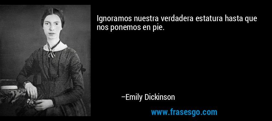 Ignoramos nuestra verdadera estatura hasta que nos ponemos en pie. – Emily Dickinson