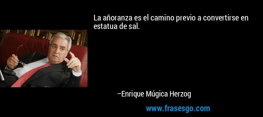 La añoranza es el camino previo a convertirse en estatua de sal. – Enrique Múgica Herzog