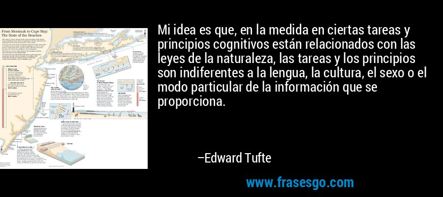 Mi idea es que, en la medida en ciertas tareas y principios cognitivos están relacionados con las leyes de la naturaleza, las tareas y los principios son indiferentes a la lengua, la cultura, el sexo o el modo particular de la información que se proporciona. – Edward Tufte