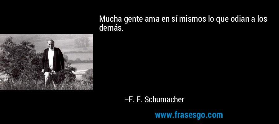 Mucha gente ama en sí mismos lo que odian a los demás. – E. F. Schumacher