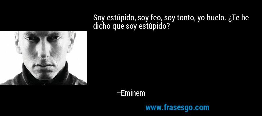 Soy estúpido, soy feo, soy tonto, yo huelo. ¿Te he dicho que soy estúpido? – Eminem
