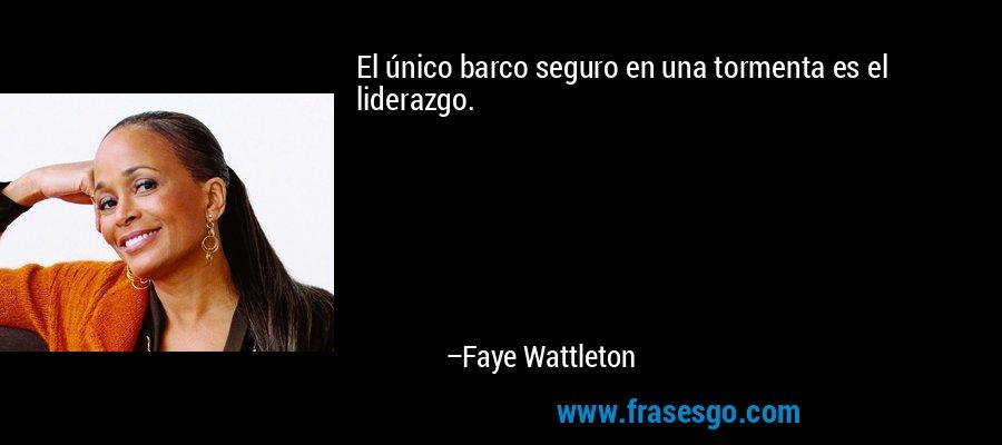 El único barco seguro en una tormenta es el liderazgo. – Faye Wattleton