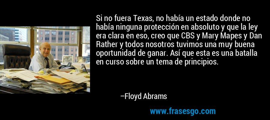 Si no fuera Texas, no había un estado donde no había ninguna protección en absoluto y que la ley era clara en eso, creo que CBS y Mary Mapes y Dan Rather y todos nosotros tuvimos una muy buena oportunidad de ganar. Así que esta es una batalla en curso sobre un tema de principios. – Floyd Abrams
