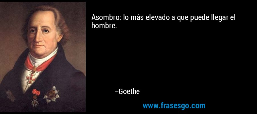 Asombro: lo más elevado a que puede llegar el hombre. – Goethe