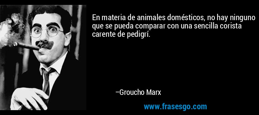 En materia de animales domésticos, no hay ninguno que se pueda comparar con una sencilla corista carente de pedigrí. – Groucho Marx