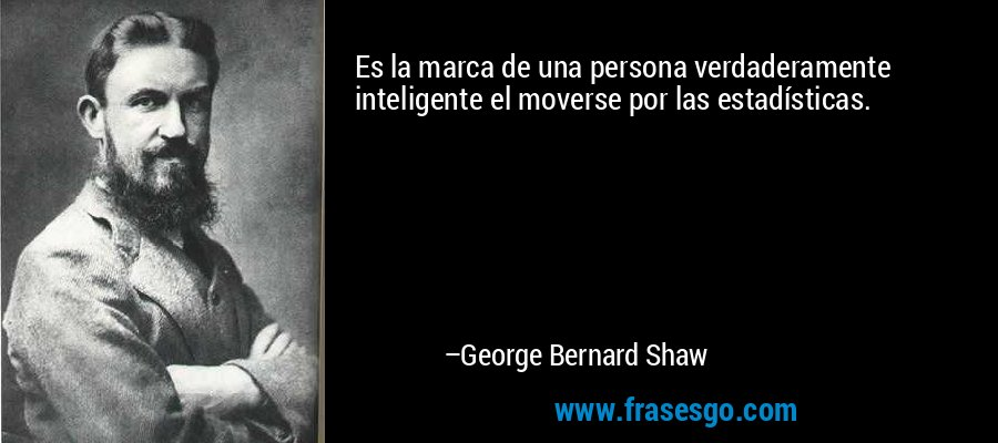 Es la marca de una persona verdaderamente inteligente el moverse por las estadísticas. – George Bernard Shaw