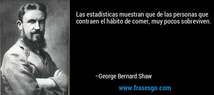 Las estadísticas muestran que de las personas que contraen el hábito de comer, muy pocos sobreviven. – George Bernard Shaw