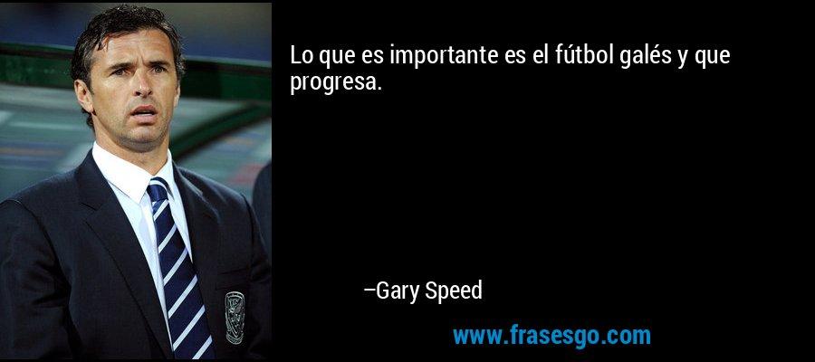 Lo que es importante es el fútbol galés y que progresa. – Gary Speed