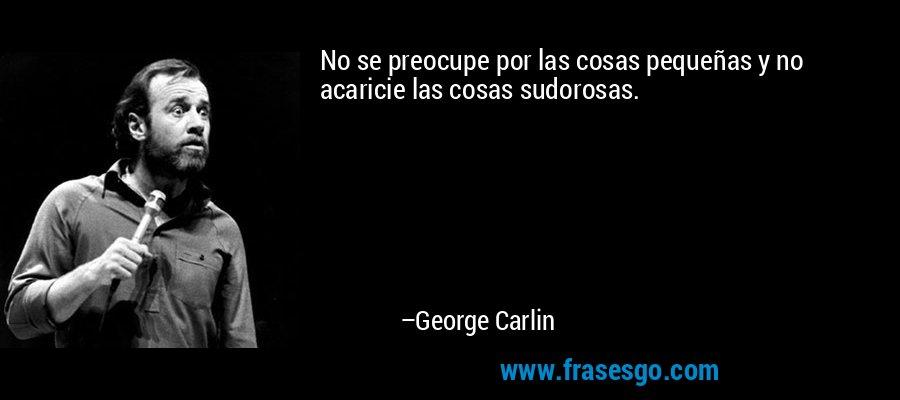 No se preocupe por las cosas pequeñas y no acaricie las cosas sudorosas. – George Carlin