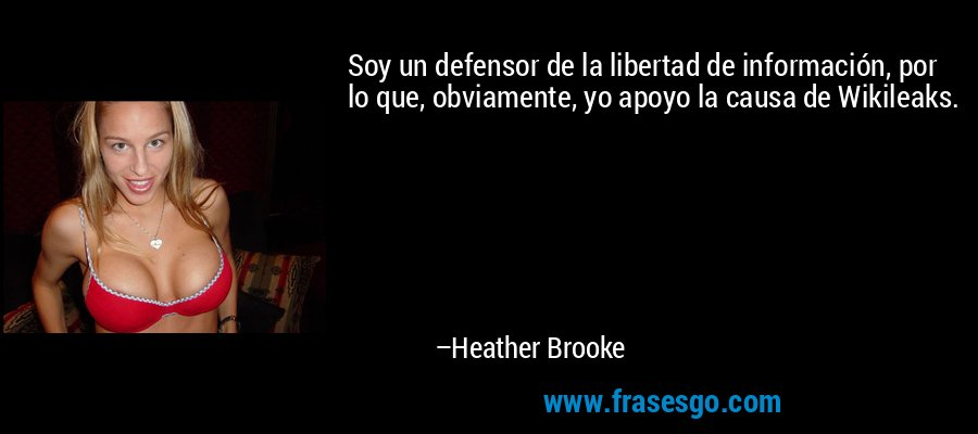 Soy un defensor de la libertad de información, por lo que, obviamente, yo apoyo la causa de Wikileaks. – Heather Brooke