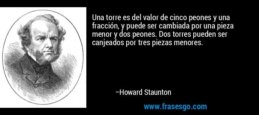 Una torre es del valor de cinco peones y una fracción, y puede ser cambiada por una pieza menor y dos peones. Dos torres pueden ser canjeados por tres piezas menores. – Howard Staunton