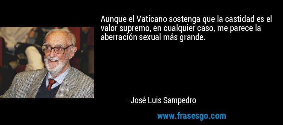 Aunque el Vaticano sostenga que la castidad es el valor supremo, en cualquier caso, me parece la aberración sexual más grande. – José Luis Sampedro