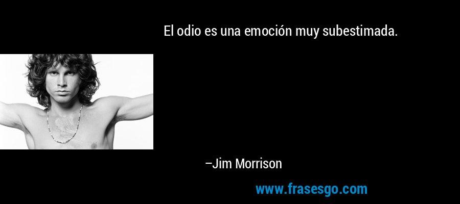El odio es una emoción muy subestimada. – Jim Morrison