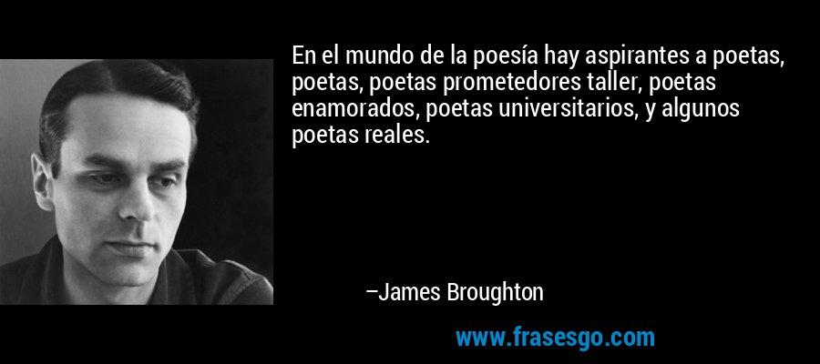 En el mundo de la poesía hay aspirantes a poetas, poetas, poetas prometedores taller, poetas enamorados, poetas universitarios, y algunos poetas reales. – James Broughton