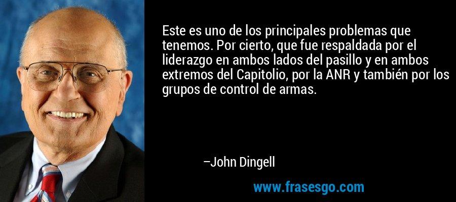Este es uno de los principales problemas que tenemos. Por cierto, que fue respaldada por el liderazgo en ambos lados del pasillo y en ambos extremos del Capitolio, por la ANR y también por los grupos de control de armas. – John Dingell