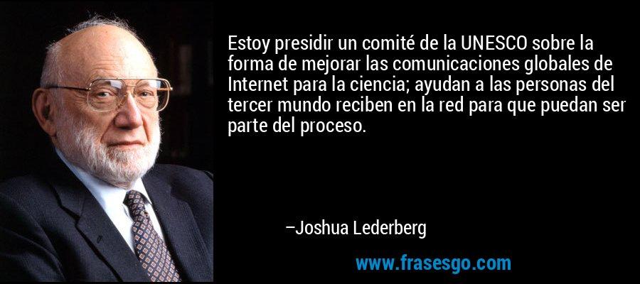Estoy presidir un comité de la UNESCO sobre la forma de mejorar las comunicaciones globales de Internet para la ciencia; ayudan a las personas del tercer mundo reciben en la red para que puedan ser parte del proceso. – Joshua Lederberg