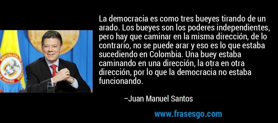 La democracia es como tres bueyes tirando de un arado. Los bueyes son los poderes independientes, pero hay que caminar en la misma dirección, de lo contrario, no se puede arar y eso es lo que estaba sucediendo en Colombia. Una buey estaba caminando en una dirección, la otra en otra dirección, por lo que la democracia no estaba funcionando. – Juan Manuel Santos