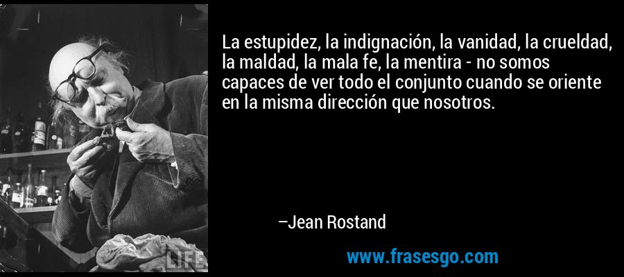 La estupidez, la indignación, la vanidad, la crueldad, la maldad, la mala fe, la mentira - no somos capaces de ver todo el conjunto cuando se oriente en la misma dirección que nosotros. – Jean Rostand
