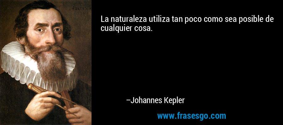 La naturaleza utiliza tan poco como sea posible de cualquier cosa. – Johannes Kepler