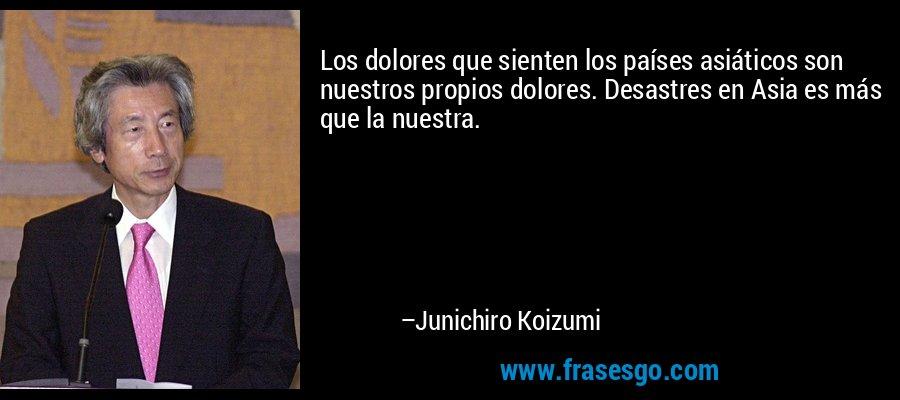 Los dolores que sienten los países asiáticos son nuestros propios dolores. Desastres en Asia es más que la nuestra. – Junichiro Koizumi