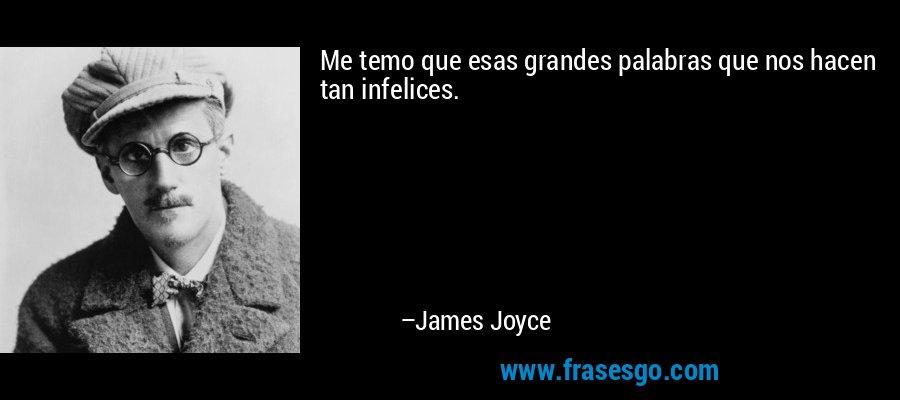 Me temo que esas grandes palabras que nos hacen tan infelices. – James Joyce