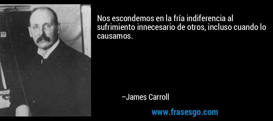 Nos escondemos en la fría indiferencia al sufrimiento innecesario de otros, incluso cuando lo causamos. – James Carroll