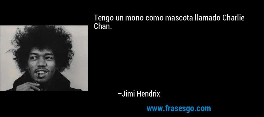Tengo un mono como mascota llamado Charlie Chan. – Jimi Hendrix