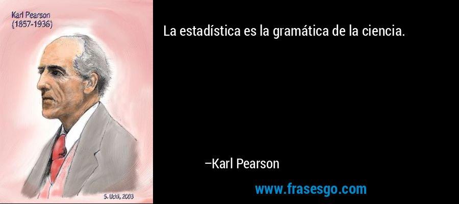 La estadística es la gramática de la ciencia. – Karl Pearson