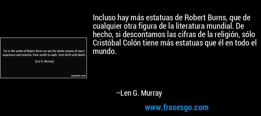 Incluso hay más estatuas de Robert Burns, que de cualquier otra figura de la literatura mundial. De hecho, si descontamos las cifras de la religión, sólo Cristóbal Colón tiene más estatuas que él en todo el mundo. – Len G. Murray