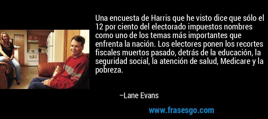 Una encuesta de Harris que he visto dice que sólo el 12 por ciento del electorado impuestos nombres como uno de los temas más importantes que enfrenta la nación. Los electores ponen los recortes fiscales muertos pasado, detrás de la educación, la seguridad social, la atención de salud, Medicare y la pobreza. – Lane Evans