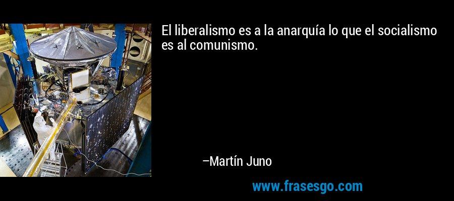 El liberalismo es a la anarquía lo que el socialismo es al comunismo. – Martín Juno