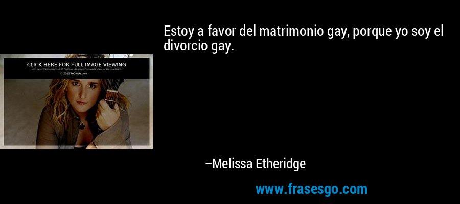 Estoy a favor del matrimonio gay, porque yo soy el divorcio gay. – Melissa Etheridge