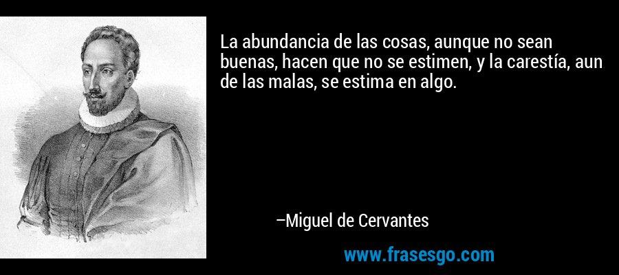 La abundancia de las cosas, aunque no sean buenas, hacen que no se estimen, y la carestía, aun de las malas, se estima en algo. – Miguel de Cervantes