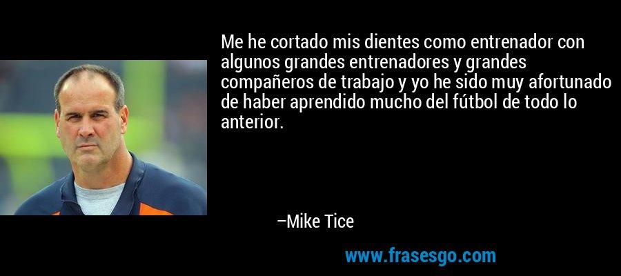 Me he cortado mis dientes como entrenador con algunos grandes entrenadores y grandes compañeros de trabajo y yo he sido muy afortunado de haber aprendido mucho del fútbol de todo lo anterior. – Mike Tice