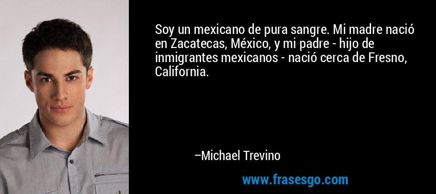 Soy un mexicano de pura sangre. Mi madre nació en Zacatecas, México, y mi padre - hijo de inmigrantes mexicanos - nació cerca de Fresno, California. – Michael Trevino