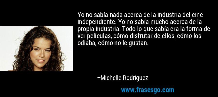 Yo no sabía nada acerca de la industria del cine independiente. Yo no sabía mucho acerca de la propia industria. Todo lo que sabía era la forma de ver películas, cómo disfrutar de ellos, cómo los odiaba, cómo no le gustan. – Michelle Rodriguez