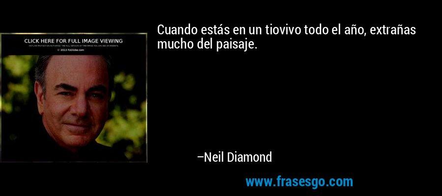 Cuando estás en un tiovivo todo el año, extrañas mucho del paisaje. – Neil Diamond