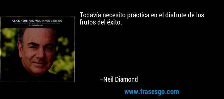 Todavía necesito práctica en el disfrute de los frutos del éxito. – Neil Diamond