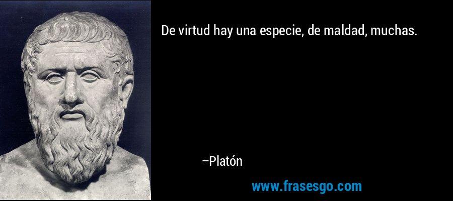 De virtud hay una especie, de maldad, muchas. – Platón