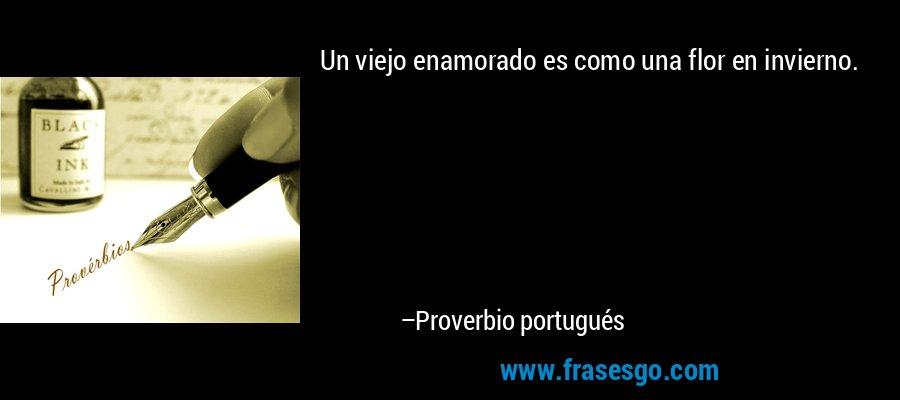Un viejo enamorado es como una flor en invierno. – Proverbio portugués