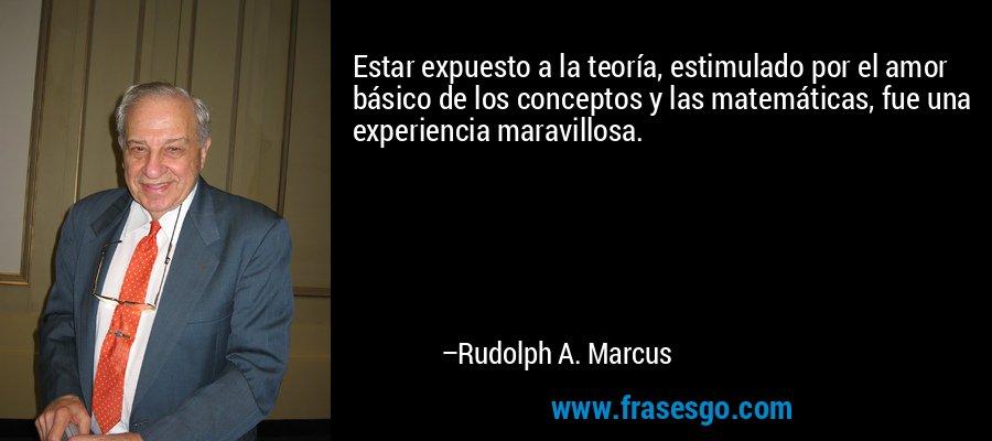 Estar expuesto a la teoría, estimulado por el amor básico de los conceptos y las matemáticas, fue una experiencia maravillosa. – Rudolph A. Marcus
