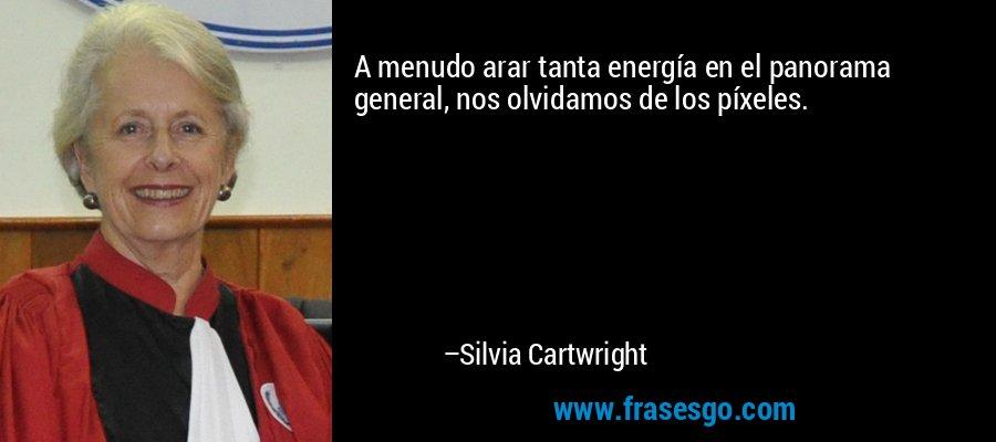 A menudo arar tanta energía en el panorama general, nos olvidamos de los píxeles. – Silvia Cartwright