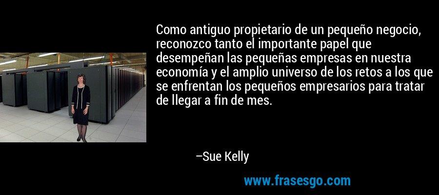 Como antiguo propietario de un pequeño negocio, reconozco tanto el importante papel que desempeñan las pequeñas empresas en nuestra economía y el amplio universo de los retos a los que se enfrentan los pequeños empresarios para tratar de llegar a fin de mes. – Sue Kelly
