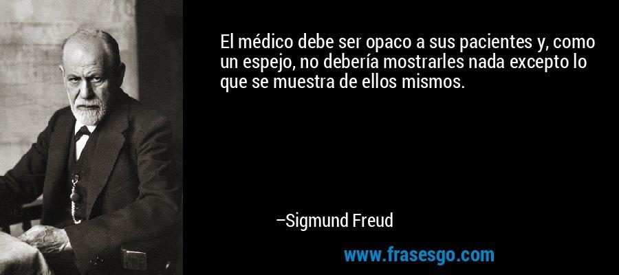 El médico debe ser opaco a sus pacientes y, como un espejo, no debería mostrarles nada excepto lo que se muestra de ellos mismos. – Sigmund Freud