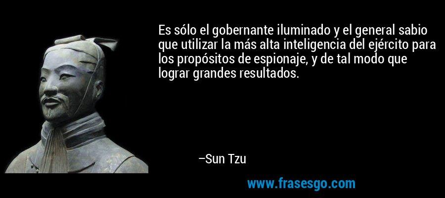 Es sólo el gobernante iluminado y el general sabio que utilizar la más alta inteligencia del ejército para los propósitos de espionaje, y de tal modo que lograr grandes resultados. – Sun Tzu