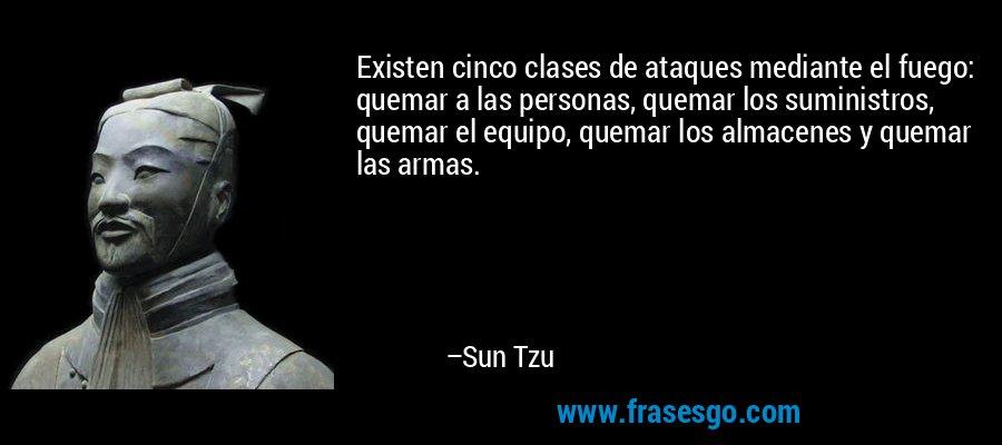 Existen cinco clases de ataques mediante el fuego: quemar a las personas, quemar los suministros, quemar el equipo, quemar los almacenes y quemar las armas. – Sun Tzu